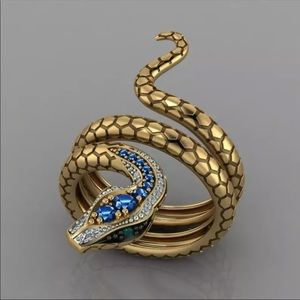 *NEW*Exotic Snake Fantasy Gold Plated Women's Ring